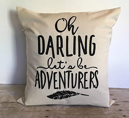 Oh Darling Let's Be Adventurers 16x16 Pillow Cover, Pillow Cover With Quote, Graphic Pillow Cover, Decorative Pillow Cover, Wedding Gift, Houswarming Inspirational Pillow Cover Home Décor