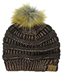 NYFASHION101 Exclusive Soft Stretch Cable Knit Faux Fur Pom Pom Beanie Hat - Brown Metallic
