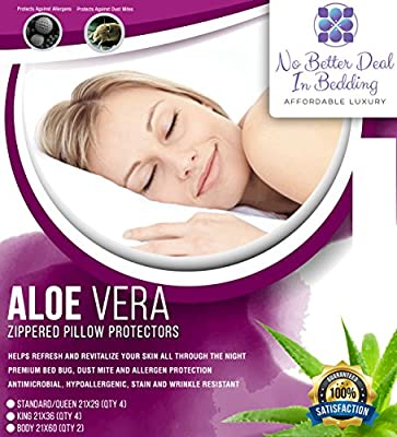 4 pack Pillow Protectors Allergy Zippered Premium Covers Aloe Vera, Hypoallergenic, Dust Mite, bed bug proof Encasements, Breathable Comfort , by No Better Deal In Bedding.