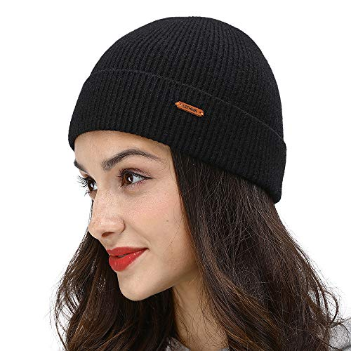 (LETHMIK Plain Cuff Beanie Hat,Winter Solid Color Skully Cap Knitted Hat for Men&Women Black)