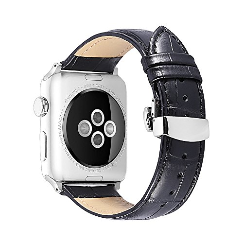 iStrap Alligator Grain Calf Leather Watch Band fit Apple iWatch 42mm Model Steel Deployment Clasp Black Alligator Watch