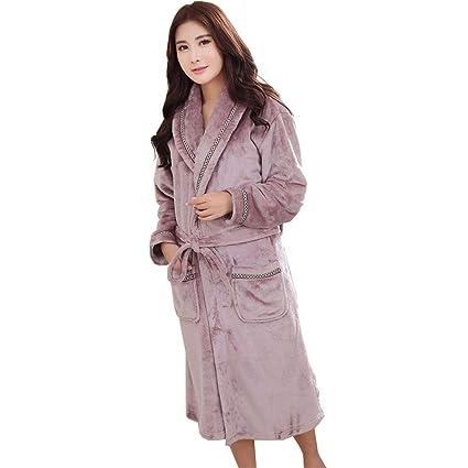 LW Bata para Hombre, Franela, Color sólido, Bata de Abrigo, Pijamas,