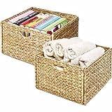 Rugged Woven Hyacinth Storage Cube Basket, 2 pack