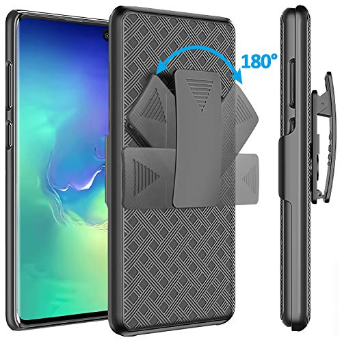 (for Galaxy S10 Case Holster, Comsoon [Heavy Duty Protection][Belt Clip][Kickstand] 2 in 1 Slim Hard Shell Cover with 180 Degree Swivel Belt Clip Holster for Samsung Galaxy S10 2019 (Black))