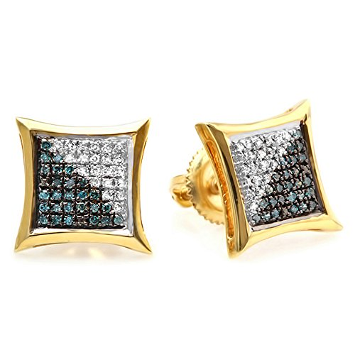 Dazzlingrock Collection 0.20 Carat (ctw) 10K Blue & White Round Diamond Micro Pave Setting Stud Earrings 1/5 CT, Yellow Gold