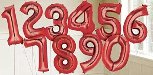 パーティーパーク アルミバルーン レッド 赤色 数字 ナンバー 0−9選べる 組み合わせ自由 約90㎝ 誕生日 誕生会 パーティー 飾り付け (5)