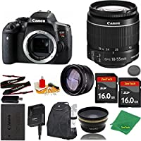 Great Value Bundle for T6I DSLR – 18-55mm STM + 2PCS 16GB Memory + Wide Angle + Telephoto Lens + Backpack