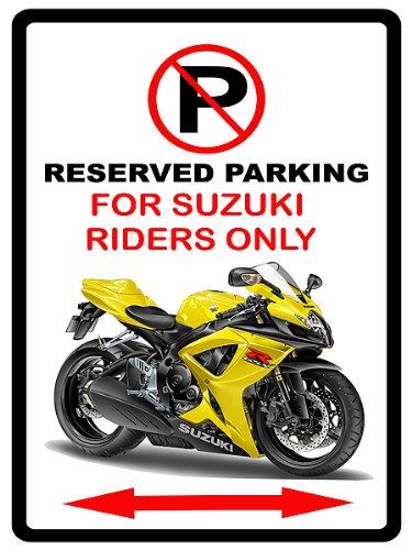 Suzuki GSXR600 Motorcycle Cartoon No Parking Sign