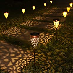 Garden and Outdoor 4 Pack Solar Lights Outdoor, Garden Pathway Lights, Metal Decorative Stakes, Waterproof LED Landscape Lighting for Deck… outdoor lighting