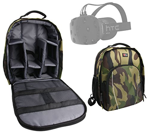 DURAGADGET Premium Quality, Camouflage Water-Resistant Backpack with Customizable Interior & Raincover Compatible with the HTC Vive Virtual Reality Headset by DURAGADGET