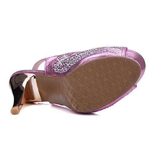 AmoonyFashion Womens Buckle High Heels Pu Solid Peep Toe Sandals Peach i9Q5JC3J