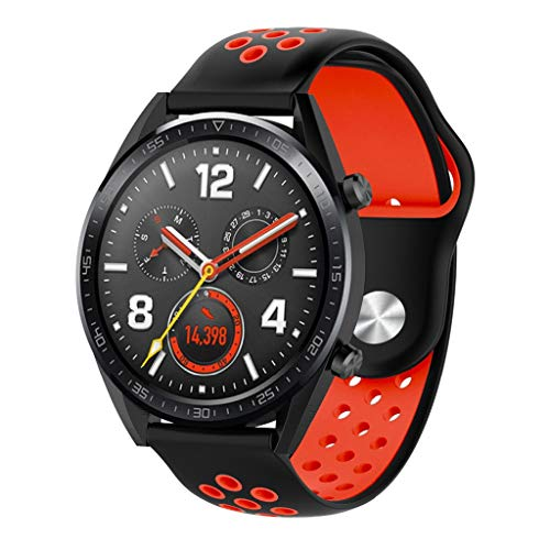 (NOGOQU Fashion Silicone Sports Replacement Watch Band Wrist Strap For Huawei Watch GT (Red) )