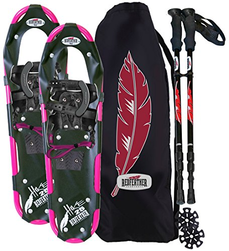 Atlas Race Snowshoe - RedFeather Women's HIKE 22 Inch Recreational Series Snowshoe Kit with SV2 Bindings, Ski Poles and Carry Bag - 157410KIT
