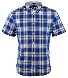 Tommy Hilfiger Mens Short Sleeve Classic Fit Button-Down Shirt (XX-Large, Diamond Blue)
