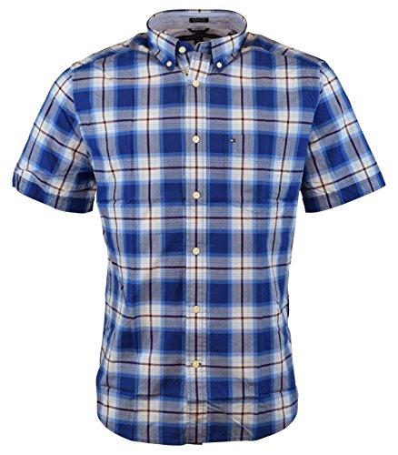 tommy-hilfiger-mens-short-sleeve-classic-fit-button-down-shirt-large-diamond-blue