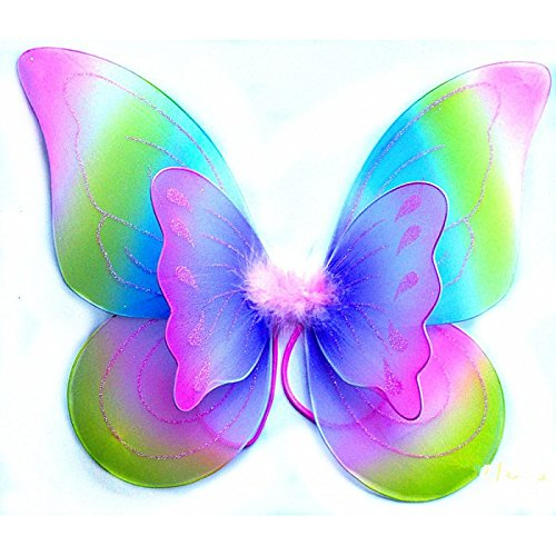 White Sparkling Fairy Costume Wings (RAINBOW) -
