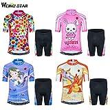 Kids Cycling Jersey Short Set Girls Boys Children Bike Gel Padded Bicycle Short Sleeve Jersey Suit
