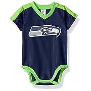 NFL Seattle Seahawks Boys Dazzle Bodysuit, 3-6 Months, Navy