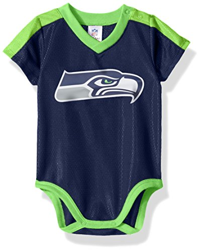NFL Seattle Seahawks Boys Dazzle Bodysuit, 6-12 Months, Navy