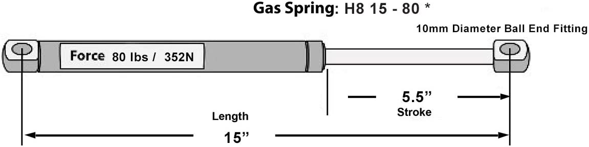 Hatchlift Products Gas Spring 15 x 80 lb Force