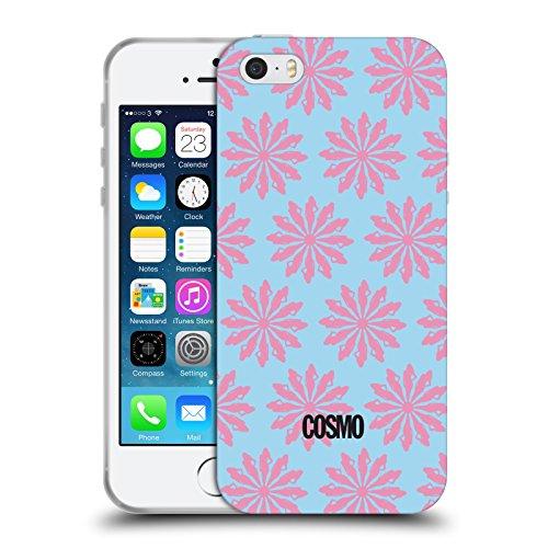 Official Cosmopolitan Sky Blue And Pink Floral Patterns Soft Gel Case for Apple iPhone 5 / 5s / SE