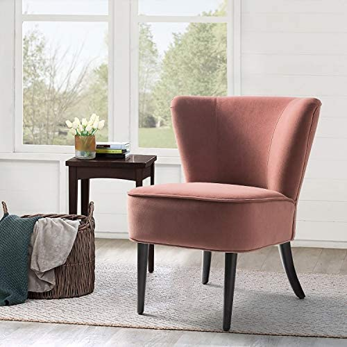 Rosewood Upholstered Velvet Accent Chair/Emille Armless Wingback Chair