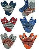 FlyingP Baby Socks 5 Pairs Anti Skid Slip Socks Non Skid Ankle Cotton Socks Baby Walker Grip Socks for 12-36 Months Toddler and Infants