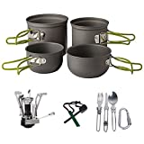 Camping Cookware Kit,3-in-1 Camping Tableware,Carabiner,Flint Fire Starter,Windproof Burner Head, Backpacking Gear & Hiking Outdoors Cooking Equipment Cooking Set | Lightweight & Durable Pot Pan