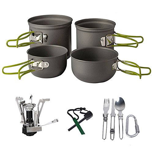 Camping Cookware Kit,3-in-1 Camping Tableware,Carabiner,Flint Fire Starter,Windproof Burner Head, Backpacking Gear & Hiking Outdoors Cooking Equipment Cooking Set | Lightweight & Durable Pot Pan by ezyoutdoor