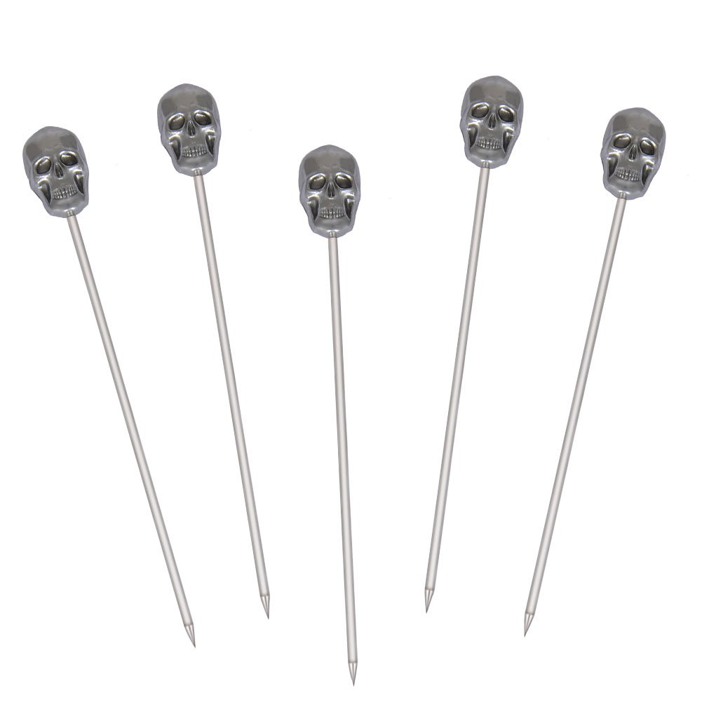 Stainless Steel Martini Cocktail Picks for Olive,Cocktail,Party,Wedding - Set of 5 - Skull