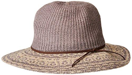 San Diego Hat Company Women's 3.25 Brim Knit Fedora with Faux Suede Trim, Grey, One Size