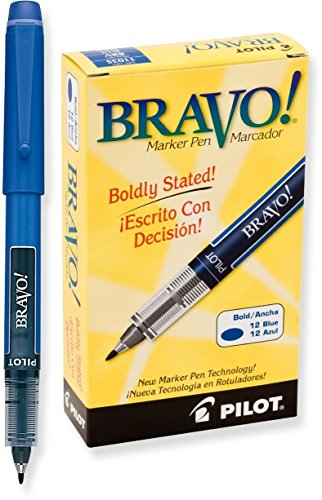 2 Dozen Total 24. Pilot Bravo Liquid Ink Marker Pens, Bold Point, Blue (11035)