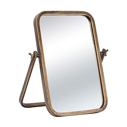 Vintage Vanity Table Top Mirror Decorative Desk Mirror-360 Rotation Metal Framed Rectangle Bronze Standing Mirror for tabletop