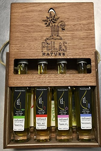 Pellas Nature | International Award Winner | Fresh Organic Infused Olive Oil Set | Finishing Oil | Basil | Garlic | Rosemary | Red Pepper | Wooden Gift Set | Single Origin Greek | 4 X 1.7oz Bottles - Pea Serving Spoon