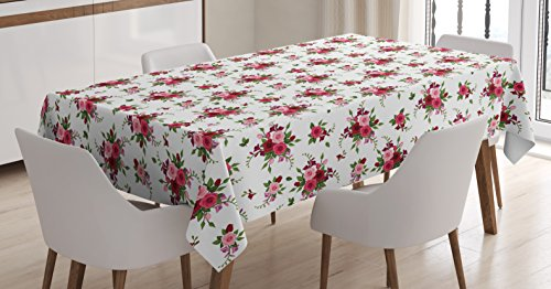 Ambesonne Flowers Tablecloth, Bridal Bouquets Pattern with Roses and Freesia Romantic Victorian Composition, Dining Room Kitchen Rectangular Table Cover, 60 W X 84 L inches, Pink Ruby Green (Bouquet Wedding Freesia)