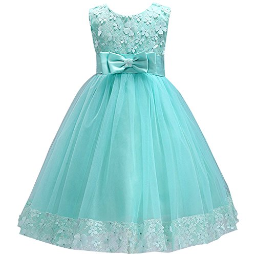Little Girl Ball Gown Lace Party Dresses ST. Patricks' Day Outfit Costume Flower Girls Dress for Wedding Turquoise 5-6 Year]()