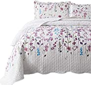 Bedsure Queen/Full Size (90x96 inches) 3-Piece Quilt Set Coverlet, Lilac Flower Pattern, Lightweight Design fo