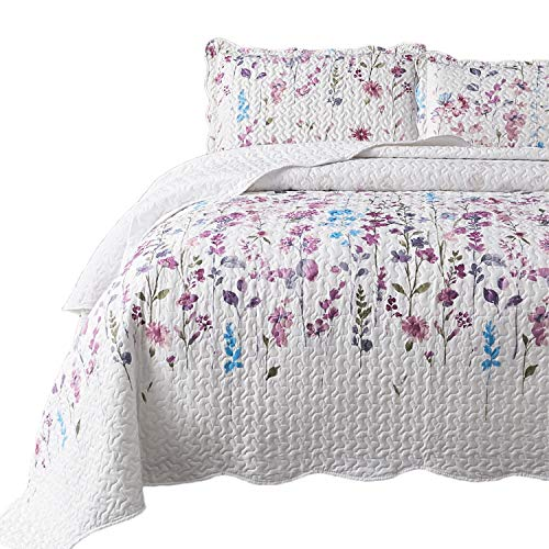 Bedsure Queen/Full Size (90x96 inches) 3-Piece Quilt Set Coverlet, Lilac Flower Pattern, Lightweight Design for Spring and Summer, 1 Quilt and 2 Pillow Shams (Cheap Quilts)