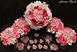Pink and White Beaded Lily Bridal Wedding Flower 18 piece set with Peony and Rose~ Unique French beaded flowers. Peonies and Roses in Pink & Fuchsia. Includes Bouquets Corsages and Boutonnieres