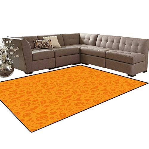 (Halloween Bath Mats Carpet Monochrome Design with Traditional Halloween Themed Various Objects Pumpkin Bat Print Girls Rooms Kids Rooms Nursery Decor Mats 5'x8')