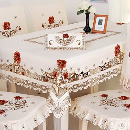 Oval Tablecloth Crochet Pattern (Luxury cutwork handmade embroidery floral jacquard table cloths cover square 22 inch approx)