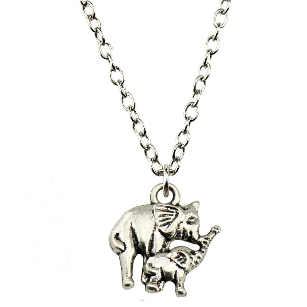 NEWME Elephant Mom And Child Charms Metal Chain Necklace For New Year Jewelry Kraftpaper Box Gifts