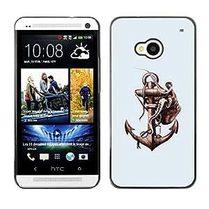 Caucho caso de Shell duro de la cubierta de accesorios de protección BY RAYDREAMMM - HTC One M7 - Pulpo & Anchor