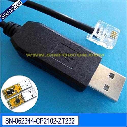 (ShineBear silabs cp2102 USB rs232 to rj11 rj12 rj45 Converter cp2102 USB Serial Adapter Cable - (Cable Length: 180cm 4 core, Color: RJ 6P4C))