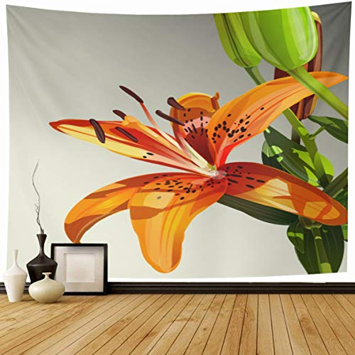 Ahawoso Tapestry 80 x 60 Inches Flower Watercolor Modern Tiger Lily Green Nature Painting Orange Garden Tropical Jungle Exotic Design Home Decor Wall Hanging Print for Living Room Bedroom Dorm