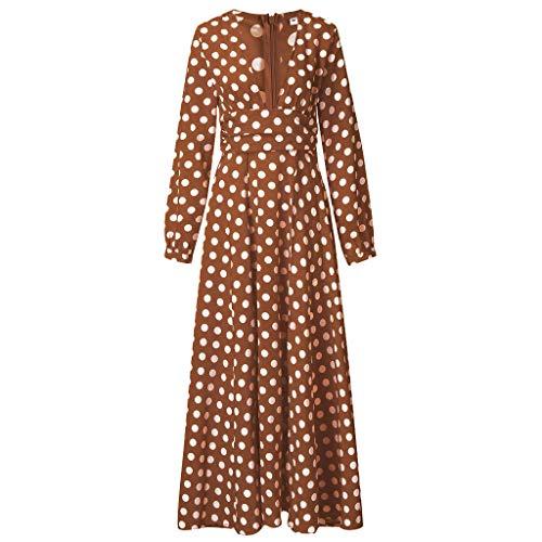 ⚡HebeTop⚡ Women Sexy Wave Point Dot V-Neck Maxi Dress Fork Opening Long Maxi Dress Brown ()