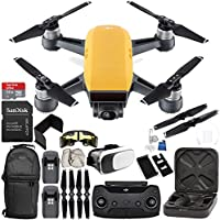 DJI Spark Portable Mini Drone Quadcopter (Sunrise Yellow) + DJI Spark Remote Controller EVERYTHING YOU NEED Essential Bundle