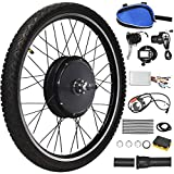 Goplus 48V 1000W Electric Bicycle Kit, 26' Front/Rear Wheel E-Bike Cycle Motor Conversion Kit Hub Motor Wheel with Intelligent Controller, LCD Display and Speed Adjustable (Rear Wheel)