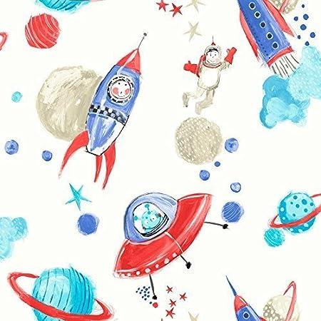 Arthouse Starship Star Pattern Space Man Rocket Glitter Childrens Wallpaper White Blue 668001