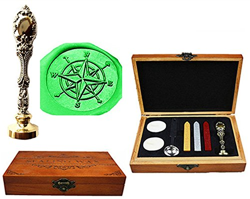 - MNYR Compass Luxury Wood Box Silver Metal Peacock Wedding Invitations Gift Cards Paper Stationary Envelope Seals Custom Logo Wax Seal Sealing Stamp Wax Sticks Melting Spoon Wood Gift Box Kit